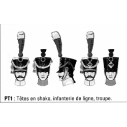 Têtes en shako, infanterie de ligne, troupe