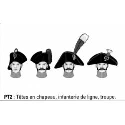 Têtes en chapeau, infanterie de ligne, troupe